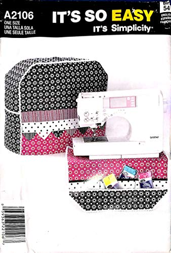 Simplicity A2106 Sewing Pattern, Sewing Machine Cover & Organizer, One Size (Sewing Machine Pattern Cover)