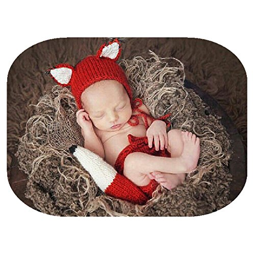 Vedory Baby Photography Props Girl Boy Photo Shoot Outfits Newborn Crochet Costume Infant Knitted Fox Hat Pants Photography Shoot, Multicolor, 0-3 Months