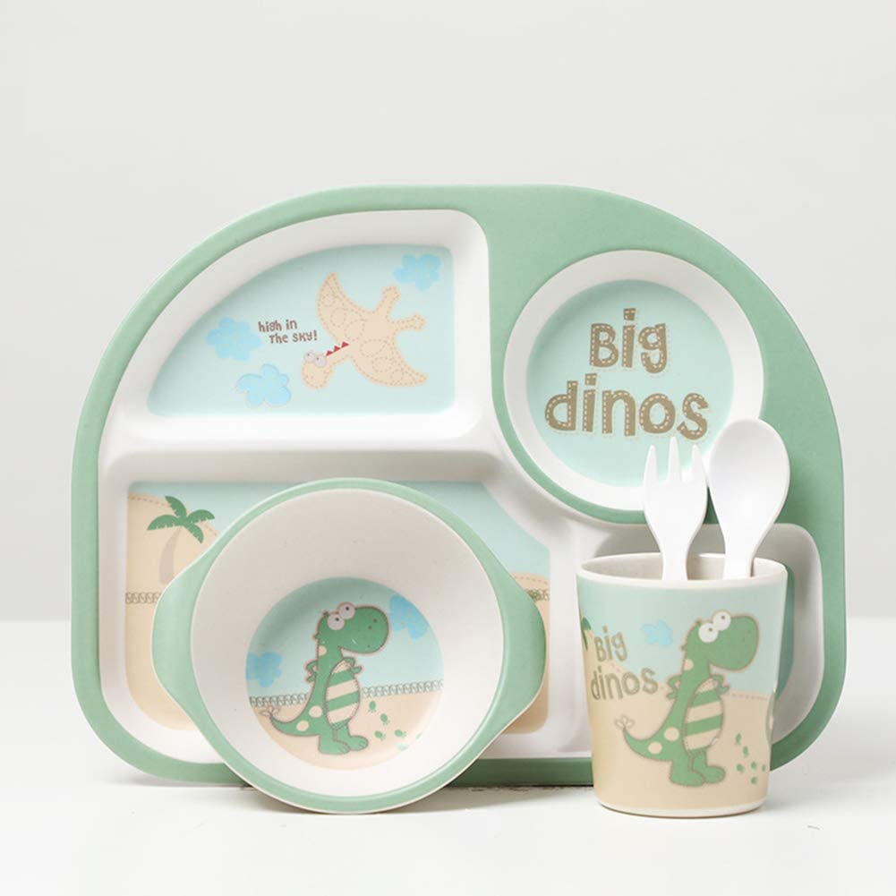 Children 5 Piece Eco Friendly Bamboo Dinner Set Plate Bowl Cup Fork /& Spoon