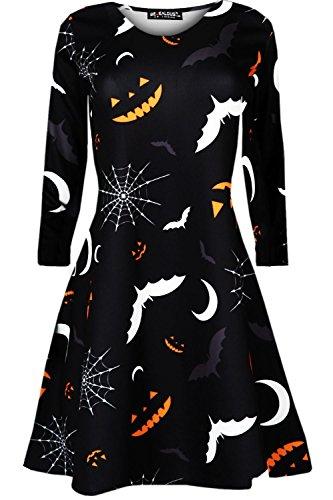 Womens Ladies Halloween Prints Long Sleeves Spooky Scary Flared Swing -