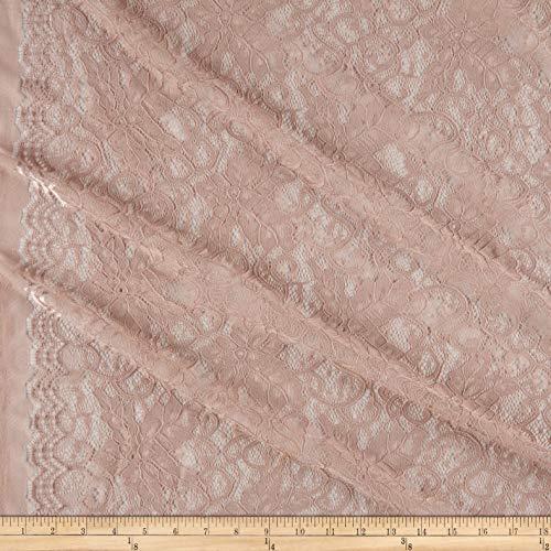 Telio Lolita Nylon Stretch Corded Lace Blush, Fabric by the Yard