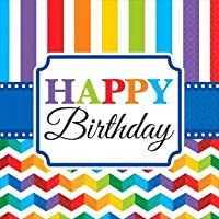 "Bright Chevron and Stripes Birthday Party Luncheon Napkins Tableware, Pack of 16, Multi , 13"" x 65"" x 35"" Tissue"
