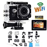 Legazone 1080P WIFI Sports Camera with 2.0Inch LCD Display 12MP Wide Angle + 8G SD Card+Extra Battery Waterproof Action DV Camcorder 170 degree Wide Angle Car DVR Recorder Diving, Skating,Underwater HDMI Output