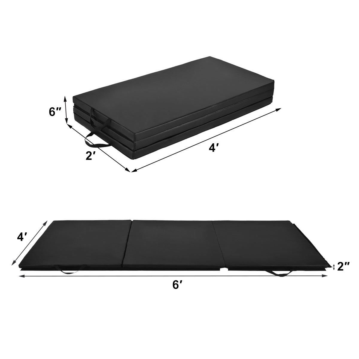 Giantex 6' x 4' Tri-Fold Gymnastics Mat Thick Folding Panel for Gym Fitness Exercise (Black) by Giantex (Image #6)