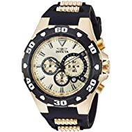 Men's 'Pro Diver' Quartz Stainless Steel and Silicone Casual Watch, Color:Two Tone (Model: 24682)