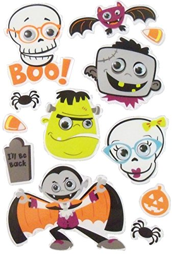 Creatology Googly Eye Stickers ~ Halloween Edition (Monster Faces, Spiders, Headstone and More!; 12 Stickers) -