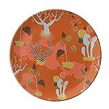 Desert Cactus Savanna Orange Trees Dessert Plate Decorative Porcelain 8 inch Dinner Home
