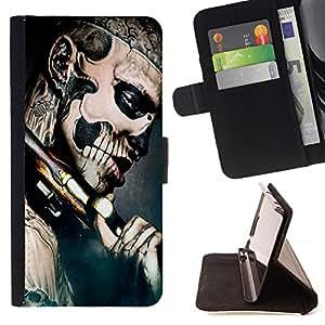 - Skull Gun Metal Gang Tattoo - Estilo PU billetera de cuero del soporte del tir???¡¯???3n [solapa de cierre] Cubierta- For Apple Iphone 5 / 5S ( Devil Case )