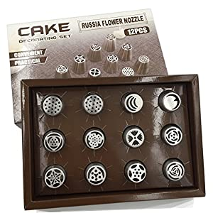 12 Pieces Russian Piping Tips Gift Set   Great Kitchen Present Baking Decoration Nozzles   Beautiful Box Contains Twelve Cake Icing Pipe Tip Cake Making Accessory   Beginner Friendly Pastry Kit
