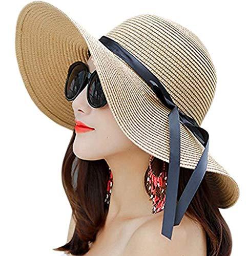 8b5a4afe Women's Big Brim Sun Hat Floppy Foldable Bowknot Straw Hat Summer Beach Hat  (Color-