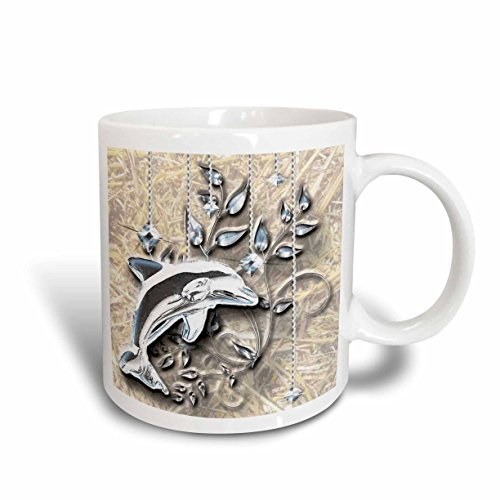 3dRose 150944_2 Jeweled Dolphin and Silver Accents Mug, 15 oz, Ceramic (Switch Jeweled Cover Light)