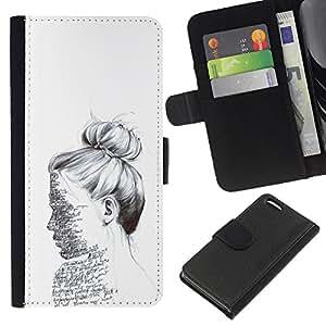 EJOY---La carpeta del tirón la caja de cuero de alta calidad de la PU Caso protector / Apple Iphone 5C / --Texto del bosquejo del lápiz Mujer Leer