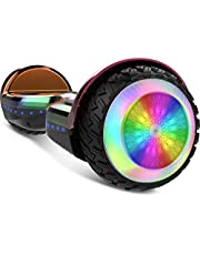 """Gyrocopters PRO 6.0 All Terrain Hoverboard - UL 2272 Certified with Bluetooth, 36V / 2.0Ah Powerful Battery, 6.5"""" LED wheels, APP, No Fall Technology, up to 12km/h speed & 10km range, Front and Back lights, Free Hoverboard Bag (Chrome Rainbow)"""