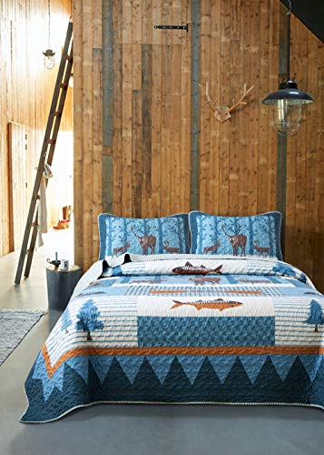 Soul & Lane True North Cabin Lodge 3-Piece Lightweight Printed Quilt Set (Queen) | with 2 Shams Pre-Washed All-Season Machine Washable Bedspread Coverlet