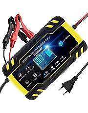 NWOUIIAY Autobatterie Ladegerät 8A/24V Batterieladegerät Auto Vollautomatisches Ladegerät Aktualisierte Version 6A/12V Autobatterie Ladegerät mit LCD-Bildschirm Batterieladegerät für Auto und Motorrad