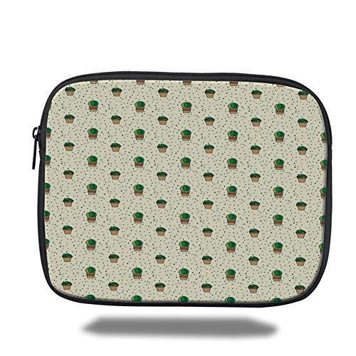 Tablet Bag for Ipad air 2/3/4/mini 9.7 inch,Cactus,Dotted Pattern with House Plants Design Latin American Cartoon Style Foliage Decorative,Cream Green Brown,3D Print