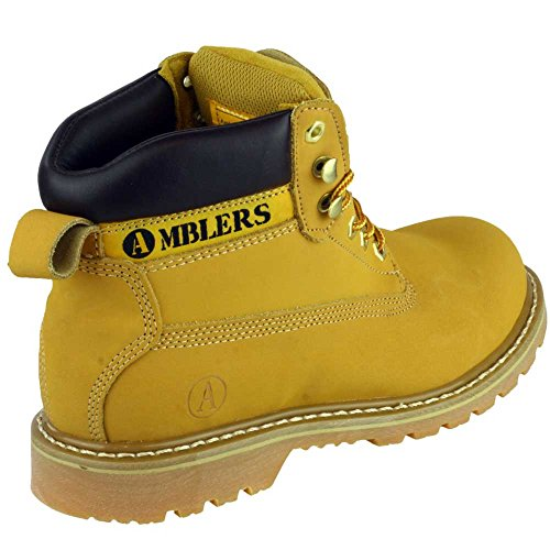 Amblers Mens Tavistock Lace Up Leather Fabric Lined Casual Boot Yellow Dvodkzx5