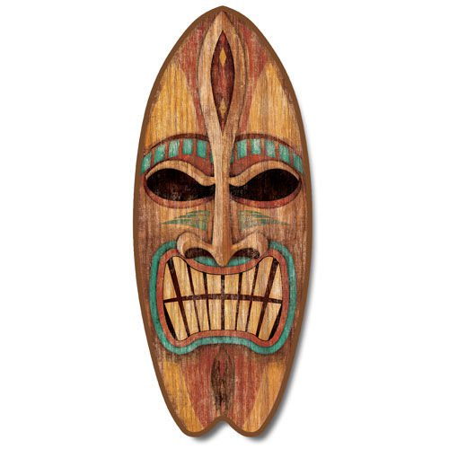 Highland Graphics Angry Tiki Large Wood Surfboard Sign