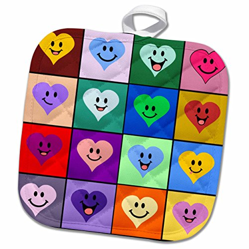 Smiley Cute Square (3D Rose Happy Squares Pattern-Colorful Rainbow Smiley Face Hearts Cute Multicolored Love Pot Holder, 8 x 8, Multiple Color)