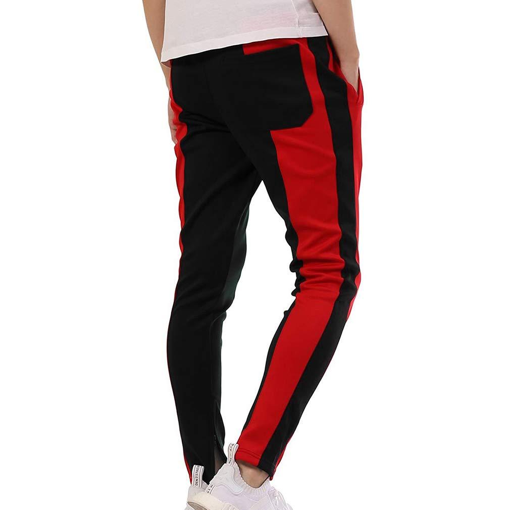 939e05e940e4bb Hibote Men's Casual Sport Jogger Pants Sweatpants - Fashion Mens Gym Slim  Fit Trousers Tracksuit Bottoms Contrast Color Joggers Sweat Track Pants: ...