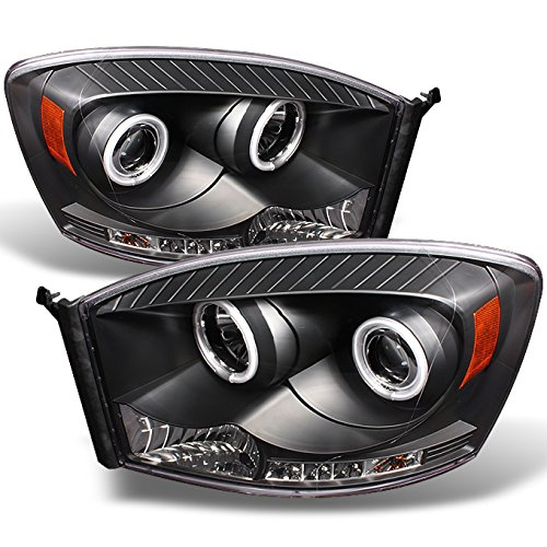 - For Dodge Ram Pickup Truck Black Bezel Dual CCFL Halo Ring LED Projector Headlights Pair Replacement