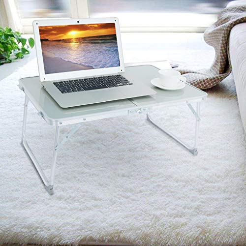 Rusily Aluminum Alloy Laptop Table Dormitory Artifact Folding Lazy Office Bed Desk Wood Compact Home Office Desk, Laptop Pc Table Writing Study Table, Workstation Executive Desk for Home (Silver) (Mirrored Tower)