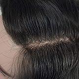 Human Hair Toupee for Men Mono Top with PU Skin