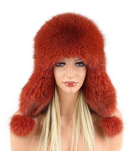Damen Pelzmütze Fellmütze FUCHS Leder MÜTZE Fliegermütze Wintermütze Skimütze Fox Uschanka Polarmütze Russische Mütze Echt Fell