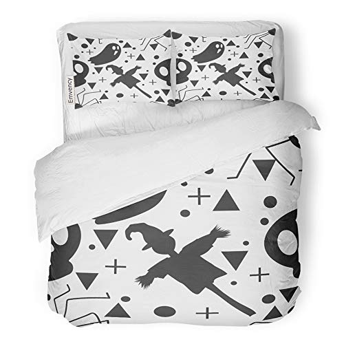 Emvency 3 Piece Duvet Cover Set Brushed Microfiber Fabric Breathable Baby Halloween Ghost and The Scarecrow Childish for Festive Cartoon Bedding Set with 2 Pillow Covers Full/Queen Size -
