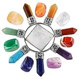 mookaitedecor Healing Crystals Set,7 Chakra Stones & Rock Quartz Energy Generator Kits for Reiki,Balancing