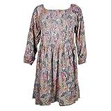 Mogul Interior Womens Boho Printed Ruched Short Floral Dress L