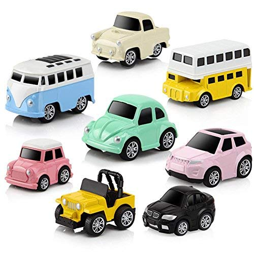 HoneybeeLY Children's Educational Toys, Children's Toy Car, Pull-Back And Go Car Model Toy Sets, Vehicle Alloy Puzzle Q Version Mini Vehicles Toys For Kids/children Gift, 8 Pcs/Set Children's Toy Car