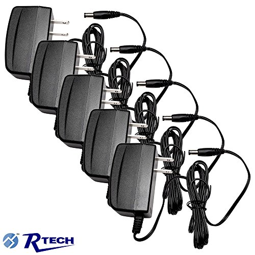 R-Tech DC12V 1A UL-Listed Switching Power Supply Adapter for CCTV - 5 Pack - Black by R-Tech