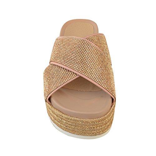 Thirsty Pour Fashion Femme Semelle L'Été Enfiler Sandales métallisé Strass Compensée doré Plate à Rose à FTTUqw1