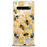 Cavka TPU Phone Case for Samsung Galaxy Note 10 Plus 5G S10 S10e S9 S8 S7 Realistic Bee Clear Honeycomb Slim fit Lightweight Yellow Print Soft Design Colorful Gift Flexible Art Smooth Elegant Bright