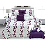 7 Piece Pin Tuck Reversible Purple, Pink, White Comforter Set Vine Bed In A Bag Queen Size Bedding