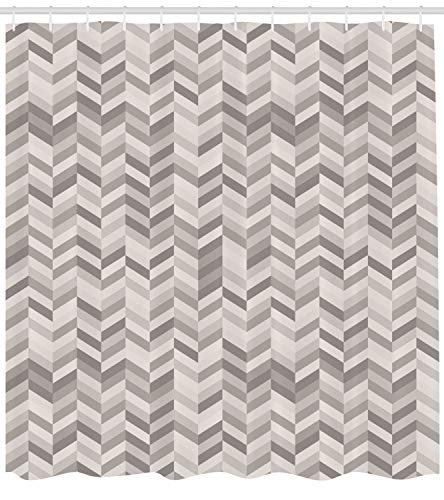 Lunarable Chevron Shower Curtain by, Monochrome Stripes Three Dimensional Pattern Geometric Chevron Design Abstract, Fabric Bathroom Decor Set with Hooks, 75 Inches Long, Grey - Shower 3 Stripe Curtain