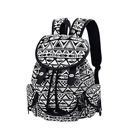Price comparison product image C-LEATHERS Lightweight Girl's Backpack Canvas Backpack Purse Schoolbag Bookbag Laptop Backpack 163 (Black Triangle)