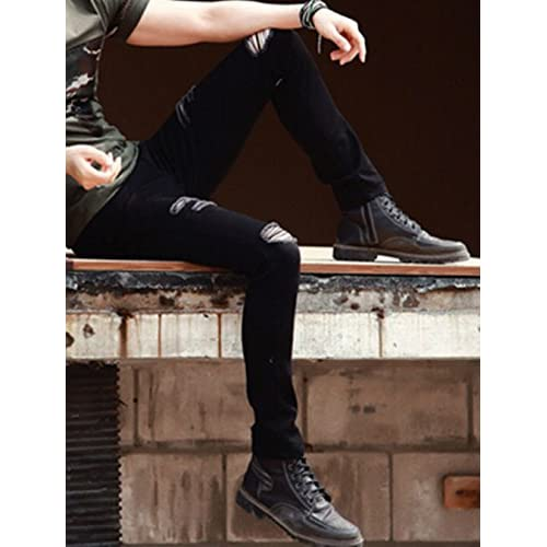 KXP Mens Basic Zip Washed Trousers Slim Fit Ripped Pants