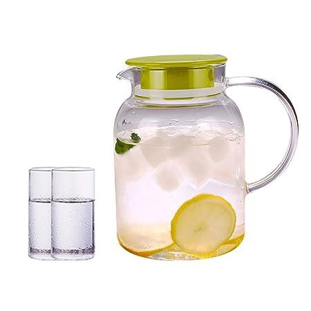 GPITE Jarra de Vidrio 1800 Ml, Botella de Agua de Vidrio fácil de ...