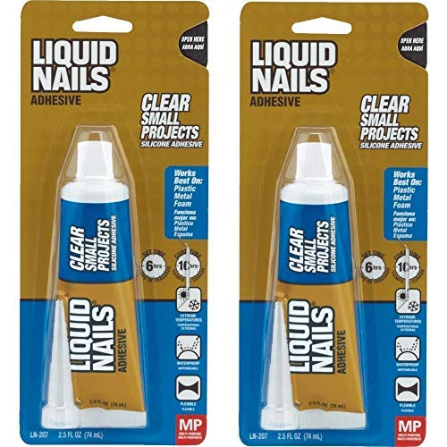 Liquid Nails LN-207 Silicone Sealant, 2.5 oz, Carded, Clear, Paste 2 Pack ()