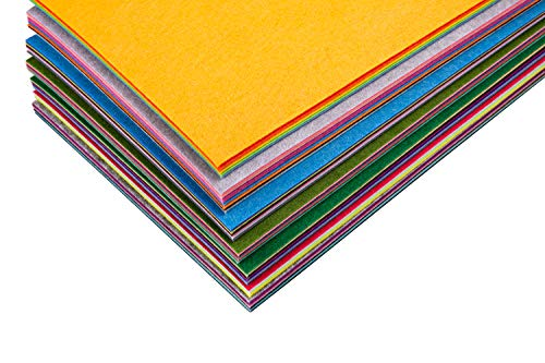 Assorted Stiff Felt Fabric Set: 50 Unique Sheets 8x12 inch (20x30cm) with Handy Storage Container Case; DIY Crafts, Sewing, Decorative Projects by Cycero (Image #4)
