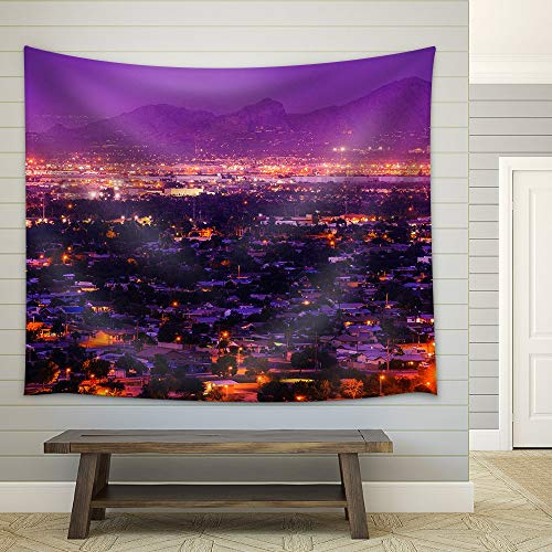YGUIRRI Phoenix Arizona Suburbs at Night. Phoenix, United States. City Panorama Tapestry Wall Fabric Hanging for Dorm Living Room Home Decor Tablecloth Curtains 51x60 -