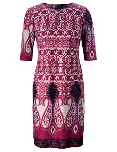 Chicwe Women's Plus Size Vintage Floral Designed Shift Dress Cashmere Touch With Buttons Wine Red 4X Cashmere 3 Button