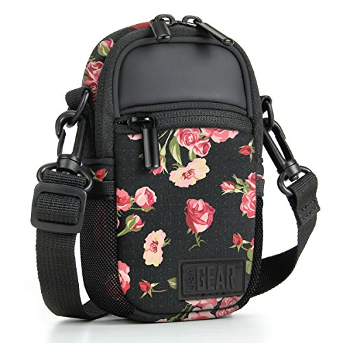 Compact Point and Shoot Camera Case Floral Sling Bag with Rain Cover, Accessory Pockets and Shoulder Strap by USA Gear- Works W/ Olympus Pen-F, Stylus SH-3, Tough TG-870, Canon PowerShot ELPH and More