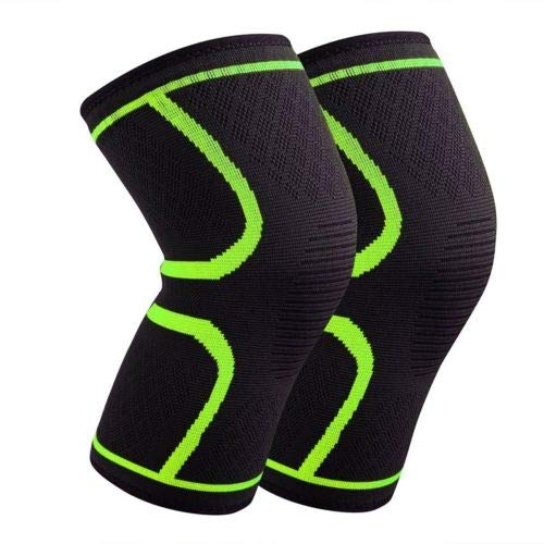 FidgetGear Pair Sports Knee Support Brace Breathable Compression Sleeve for Running Jogging Green S from FidgetGear