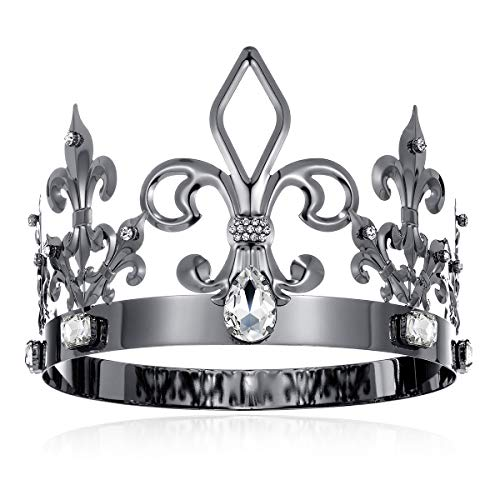 DcZeRong Black King Crown Birthday King Crowns Adult Men Crown Costume Metal Crowns