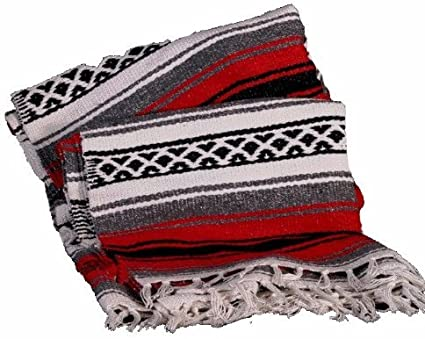 Amazon Com Sanyork Yoga Throw Afghan Exercise Mat Handmade Classic Mexican Blankets Xl 74 X 52 Red Everything Else
