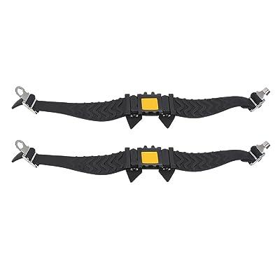 2pcs Crampons à Neige Glace Antidérapant Crampons Couvre-chaussure à 4 Crochets Griffes avec Sac de Rangement pour Ski Randonnée Escalade