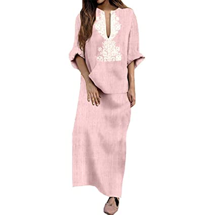 199b57a1790 Image Unavailable. Image not available for. Color  Snowfoller Fashion Women  Floral Printed Maxi Dress Autumn Cotton Linen Long Dress Casual Long Sleeve  ...